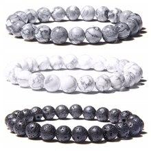 Natural Black Lava Rock Stone Beaded Men Bracelet Fashion White Turquoises Beads
