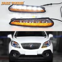 JAZZ TIGER 2PCS Turn Yellow Signal Function 12V Car DRL Lamp LED Daytime Running Light For Opel Mokka 2012 2013 2014 2015