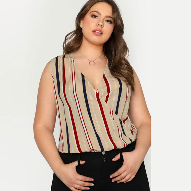 0c17ddaa16 3XL 4XL Casual Women Big Size Blouse Summer Sleeveless Striped Blouses  Shirts Plus Size Tops Casual V Neck Shirt Chemise Femme