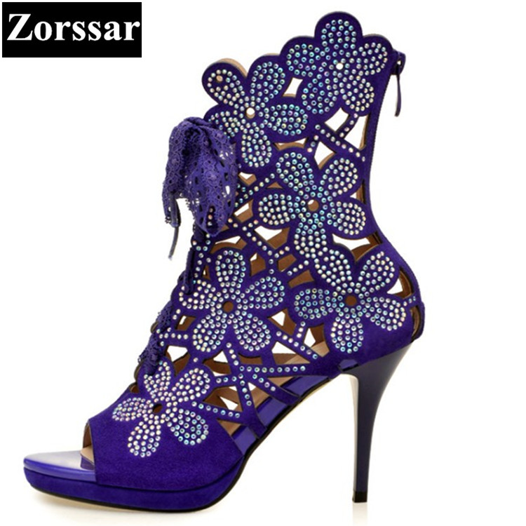 Summer Women shoes rhinestone High heels sandals open toe 2017 NEW Fashion Roman gladiator Suede womens peep toe heels pumps 2017 new summer women sandals high heels peep toe rhinestone womens wedding shoes fashion crystal ankle strap heels pumps
