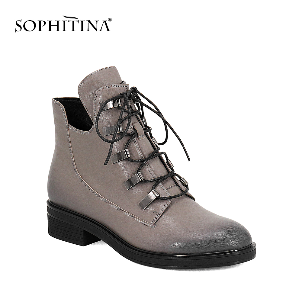 SOPHITINA Hot Sale Ankle Boots Fashion Lace Up Retro Round Toe Women Shoes 2018 Quality Cow Leather Low Heels Winter Boots BA29 hot sale women shoes lace up round toe mid calf boots for women fashion print floral embellished denim shoes retro femme boots