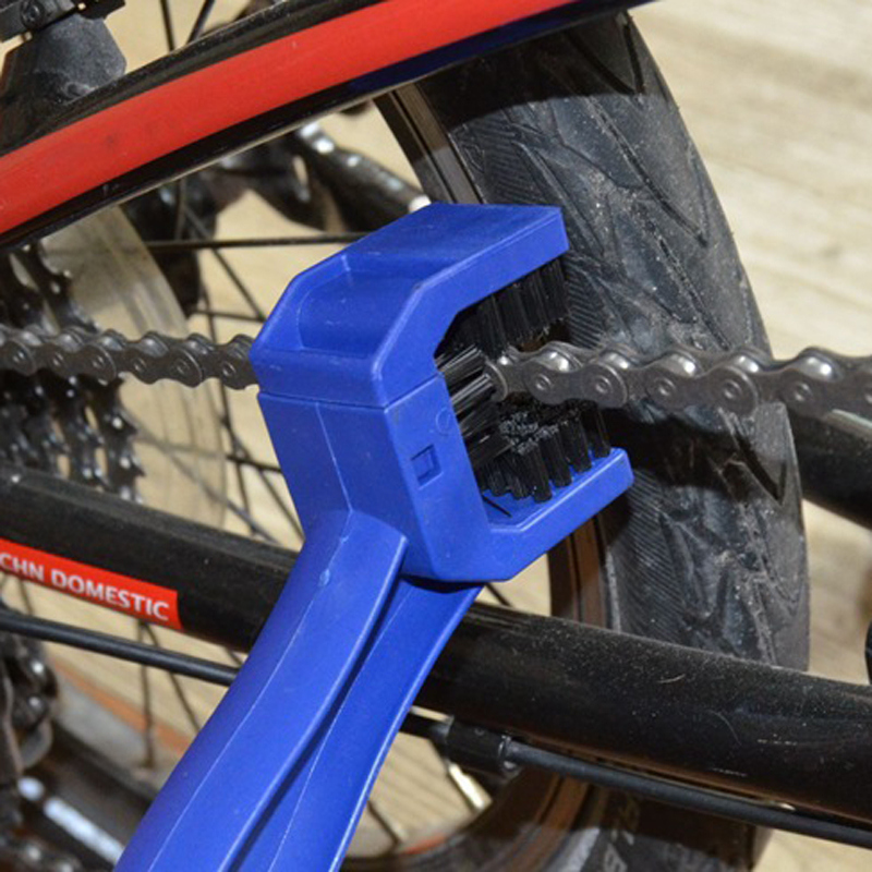 Blue Durable Motorcycle Chain Cleaning Brush Universal Motorbike Bike Gear Chain Washing Dirt Rust Brush Maintenance Tool ...