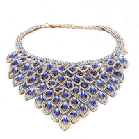 YFJEWE Fashion Blue Necklace Earring Sets Wedding Jewelry Decorative Crystal For Women Colar Feminino Pendientes #N095