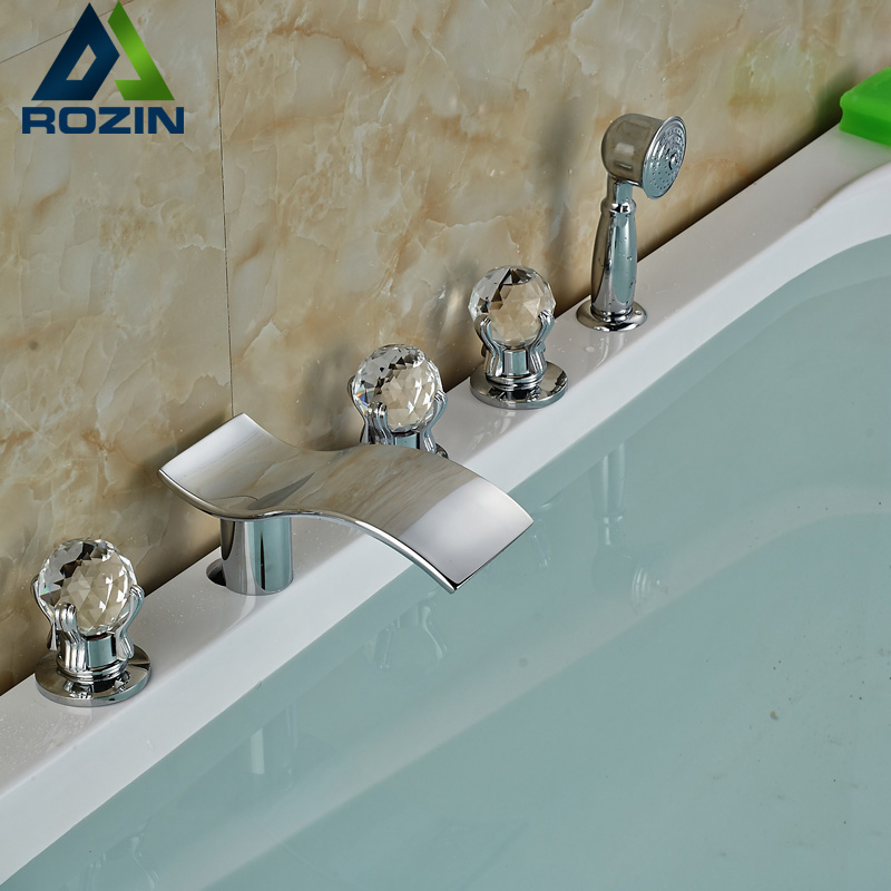Deck Mounted Chrome Widespread Bath Shower for Bathroom Deck Mounted Waterfall Tub Spout with Handshower 4 models deck mount waterfall spout 5pcs bathroom tub mixer faucet bathroom chrome tub filler with handshower