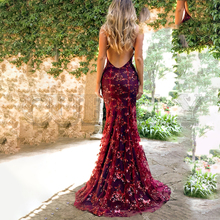 CUERLY Strap mesh sequins maxi dress Elegant backless lace up long party Robe femme 2019 autumn winter ladies sexy