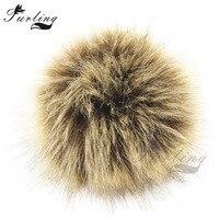 2ad0569b14 Furling DIY 12pcs Faux Fur Pom Poms Keychain 10cm 3.9inch Fluffy Pom Pom  Ball