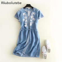 summer embroidery soft denim dress dropped shoulder knee-length tied waist pleated Jeans dresses short sleeves casual blue