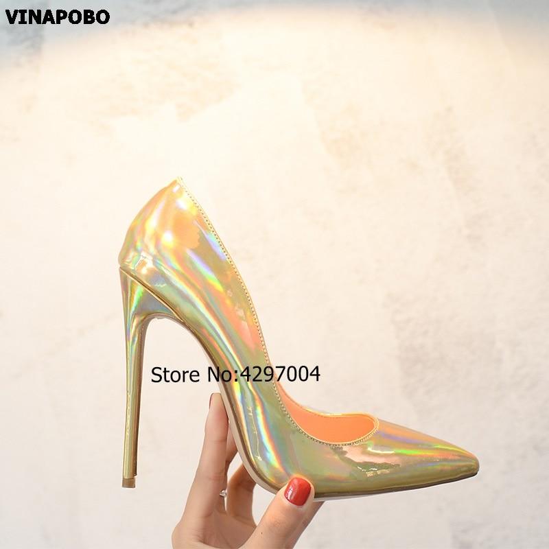 2019 mode chaud printemps automne femmes pompes Sexy or miroir surface talons hauts chaussures bout pointu chaussures de mariage parti femmes chaussures