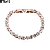 Btime 2017 Beads Cute Charms Crystal Bracelet Rose Gold Wedding Jewelry Punk Pendant Graduation Gift Bracelets & Bangles