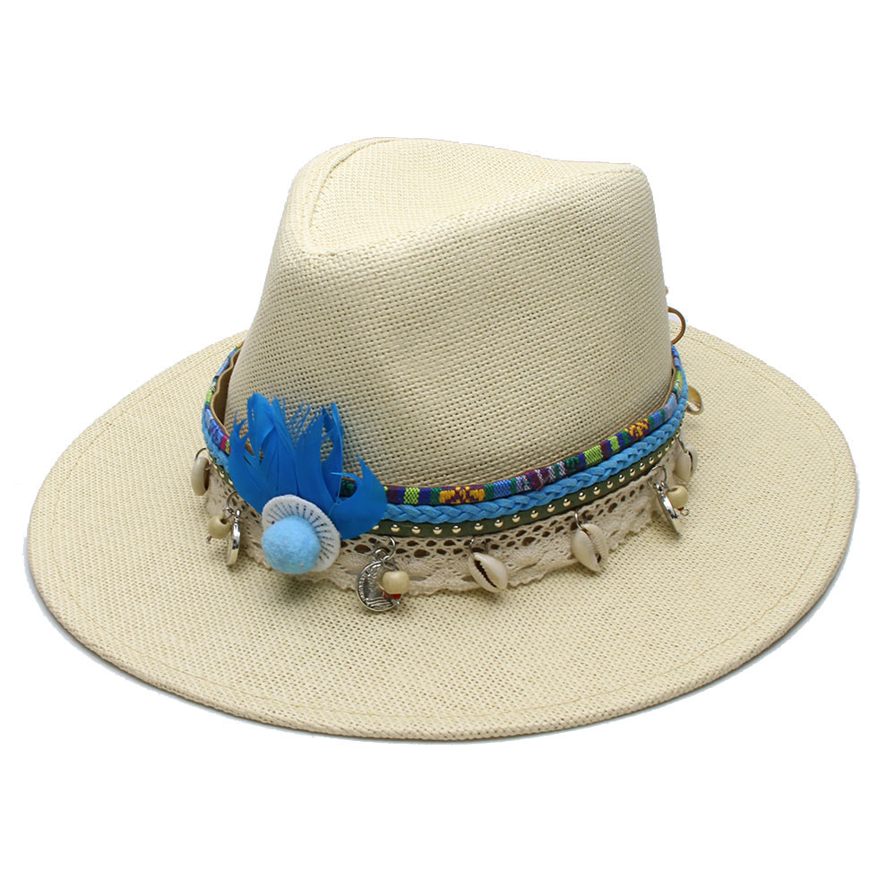 Height Size 11cm  4.3 Inches Brim  7 cm  2.8 inch. Band Bohemian feathers  and leather Braid Band Material  Straw. LUCKYLIANJI-  12140c3b81ca