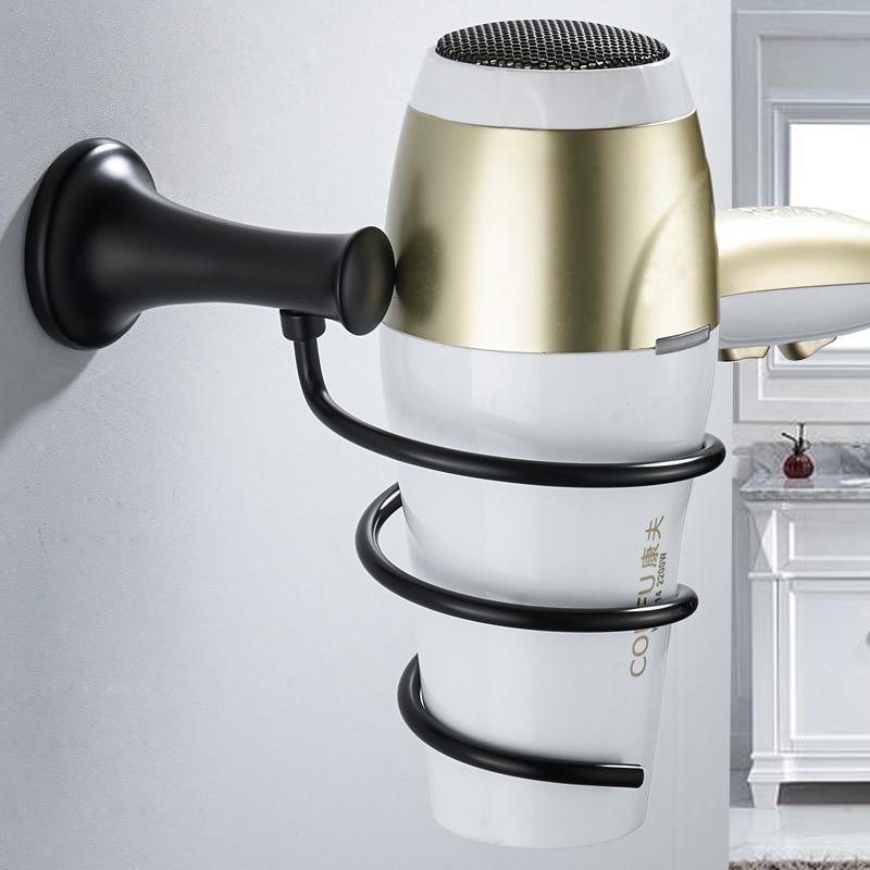 Black Hair Dryer Holder Stainless Steel Bathroom Hair Dryer Holder Wall Mounted Rack Bathroom Save Space Toilet Shelf Storage