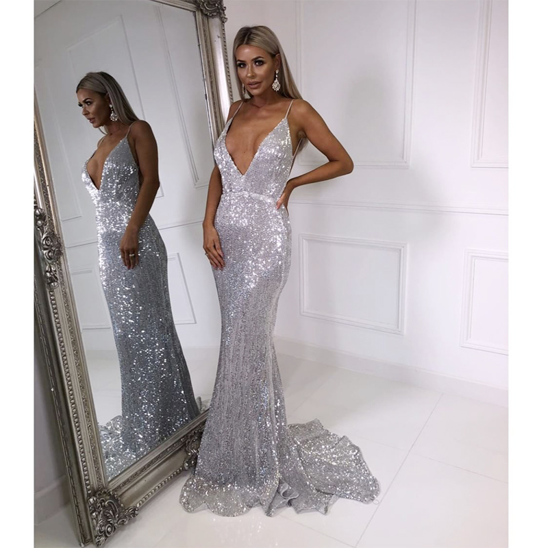 V Neck Sequined Evening Party Dress Padded Backless Bodycon Mermaid Maxi Dress Floor Length Sleeveless Dresses