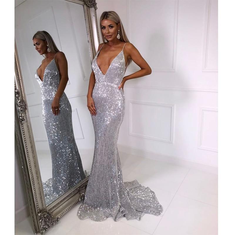 все цены на V Neck Sequined Evening Party Dress Padded Backless Bodycon Mermaid Maxi Dress Floor Length Sleeveless Dresses Navy Blue Silver
