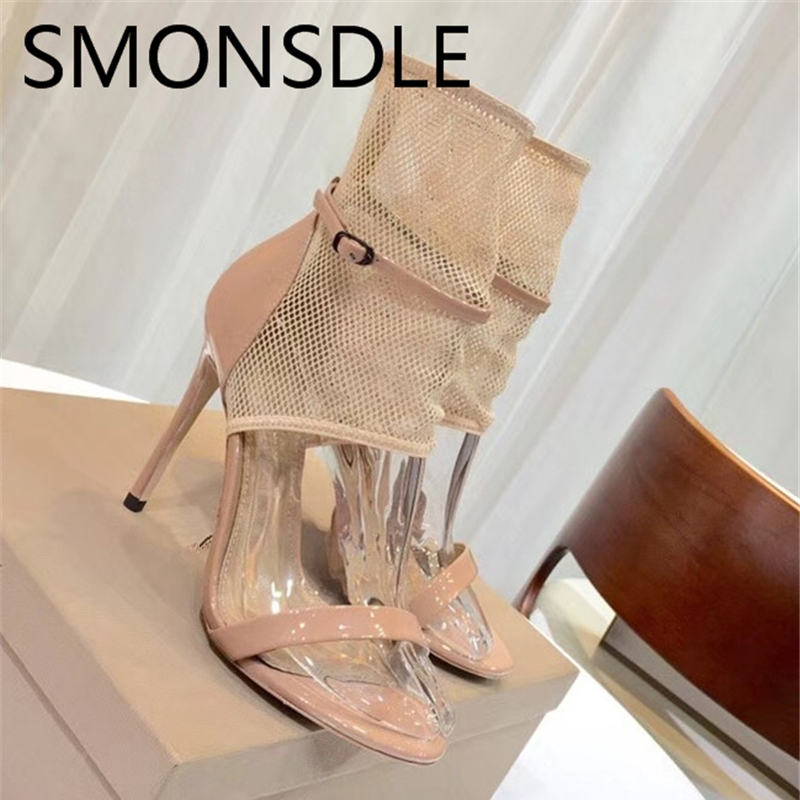 2018 New Summer Women Air Mesh Sexy Hollow Out Gladiator Sandals Buckle Strap Open Toe Thin High Heels Ankle Boots Shoes Woman цены онлайн