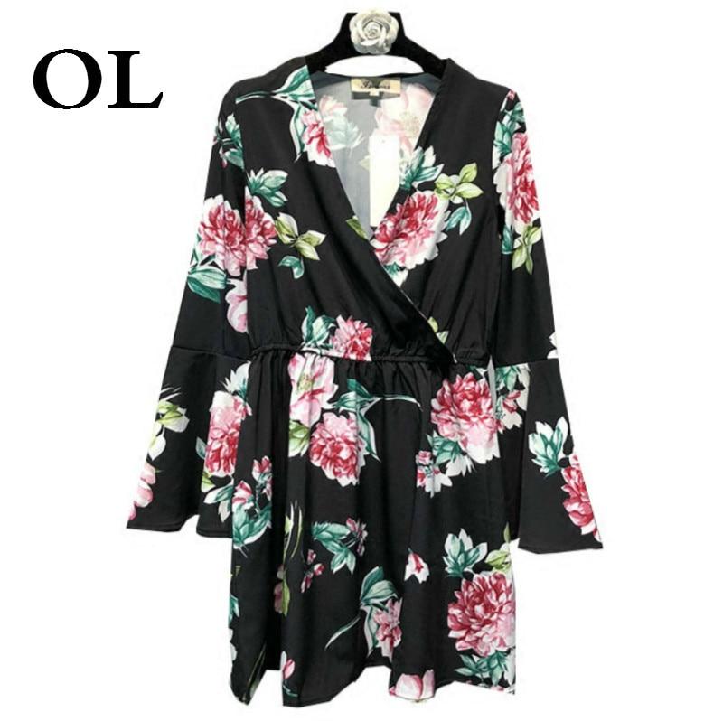 [OL] 2015 New Summer V-Collar Long Flare Sleeve Black Printing Loose Big Size Individuality Women Fashion Tide Dress Desses W551