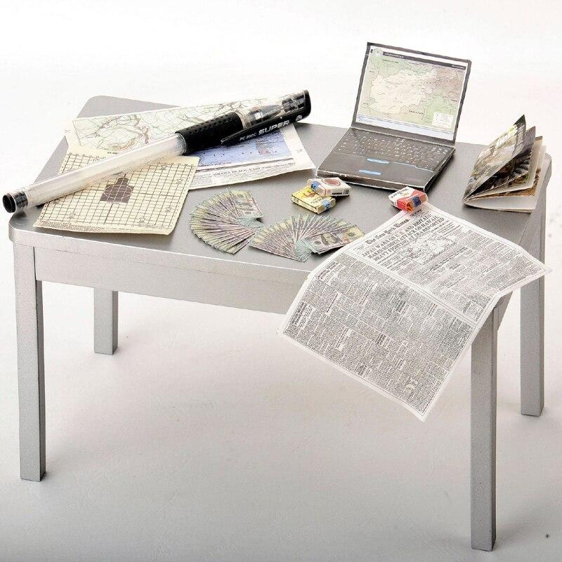 12 set/lote 1/6 escala cigarrillo caso periódico, revista ordenador lleno de papel modelo de pantalla para 12 figura de acción