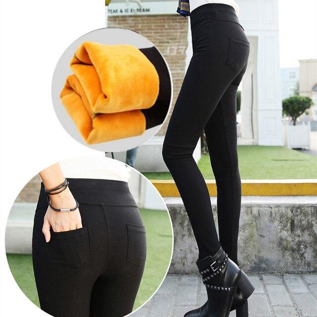 Women Winter Black Slim High-Waist Fleece Pencil Pants Thick Leggings Warm Jeans