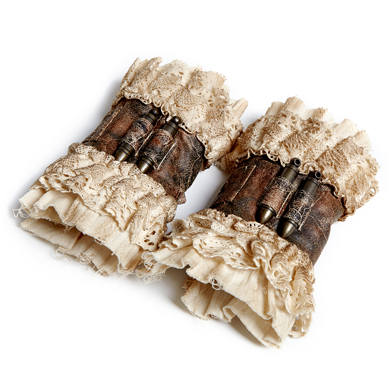Punk New Style Winter Ladies Wristlet Coffee Leather Arm Warmers With Buckle European Palace Lace Arm Sleeves