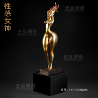 Eptang copper statue of a man body art decoration female nude figure sculpture sexy goddess