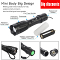 E17  XM-L T6 LED 4000LM E17 Aluminum Torches Zoomable LED Flashlight Torch Lamp For 3XAAA or 18650 Battery