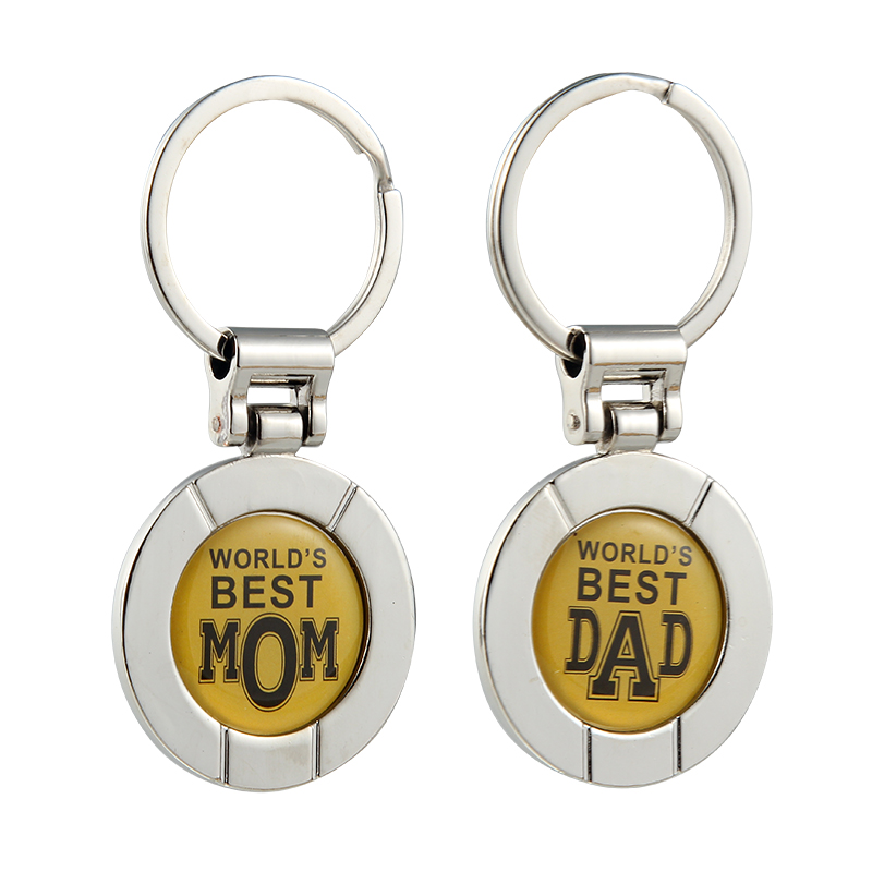 High Grade Best Mom DAD Rotated Round Alloy Keychain Keyring For Father Mothers day Pendant Charms Accessories