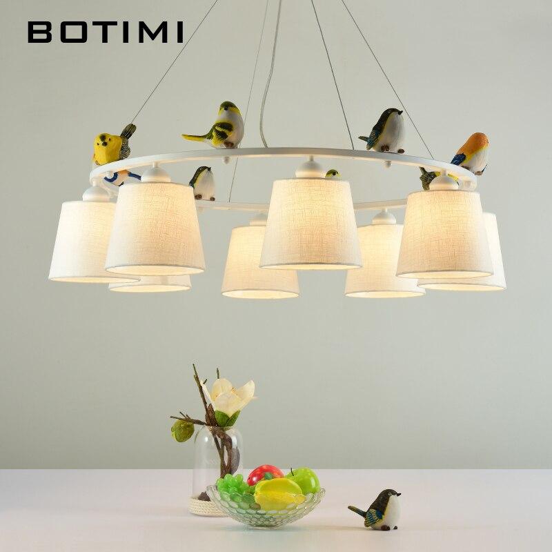 BOTIMI Цвета птицы светодио дный люстра с абажуры E27 Ткань люстры для Гостиная Спальня висит светильники