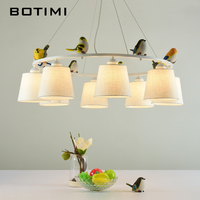 BOTIMI Colors Birds LED Chandelier with Lampshades E27 Fabric Chandeliers For Living Room Bedroom Hanging Lighting Fixtures