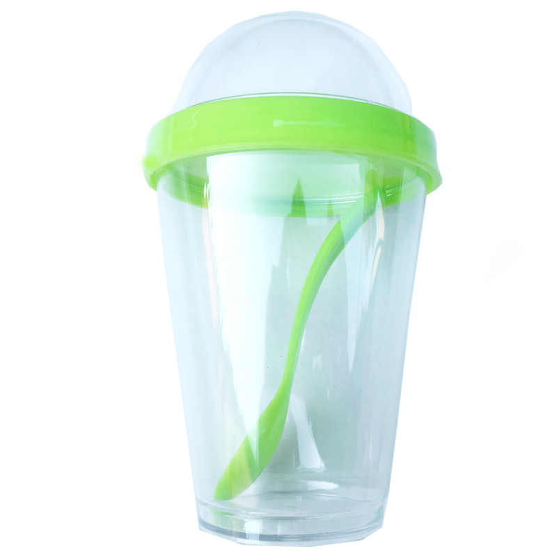 350ml คอนเทนเนอร์โยเกิร์ตช้อน Ice cream cup ขวดน้ำดื่มขวดโรงเรียน Office Drinkware น้ำผลไม้ถ้วย