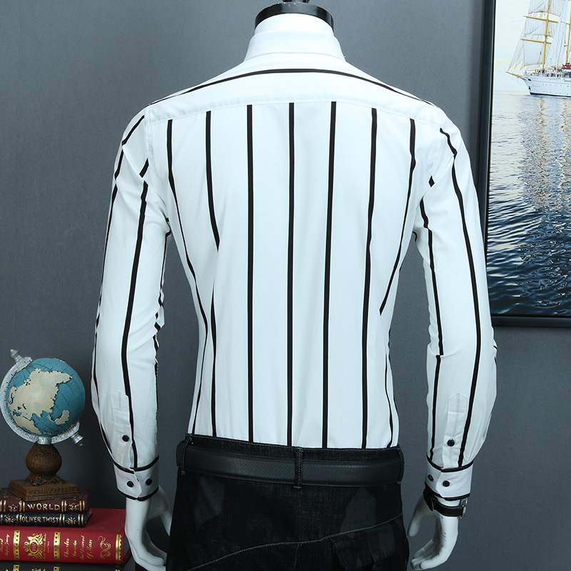 Image 5 - Мужская контрастная черно белая широкая полосатая рубашка,  удобная хлопковая Повседневная приталенная рубашка с длинным рукавом на  пуговицахРубашки-платья