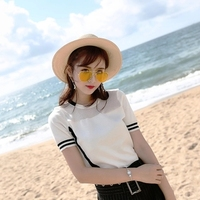 2018 Brand Spring Summer Knitted Short sleeved T shirt Women tshirt Casual Hipster Funny t shirt For Lady Top Tee Free Shipping