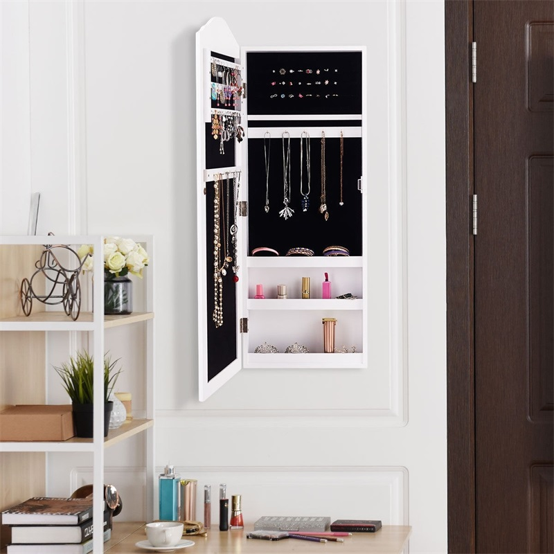 Wall Hang Mounted Mirrored Armoire Jewelry Cabinet Velvet Inner Jewelry Organizer Full Size Mirror chic and Stylish Design in Storage Boxes Bins from Home Garden