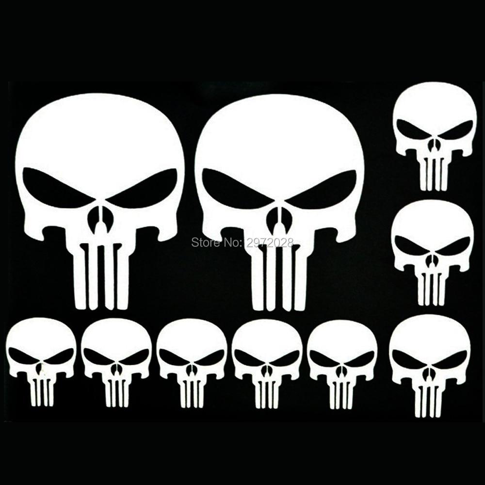 Various sizes Free Ship Punisher Skull Black//White//Grey Window Decal