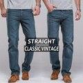 Envío gratis jeans para hombre vintage jeans regular muslo recto slim fit famosa marca para hombre azul jeans vintage classic pantalones pantalones largos