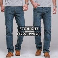 Бесплатная доставка мужские джинсы старинные регулярно бедра прямо fit известная марка мужской синие джинсы классического старинные брюки длинные брюки