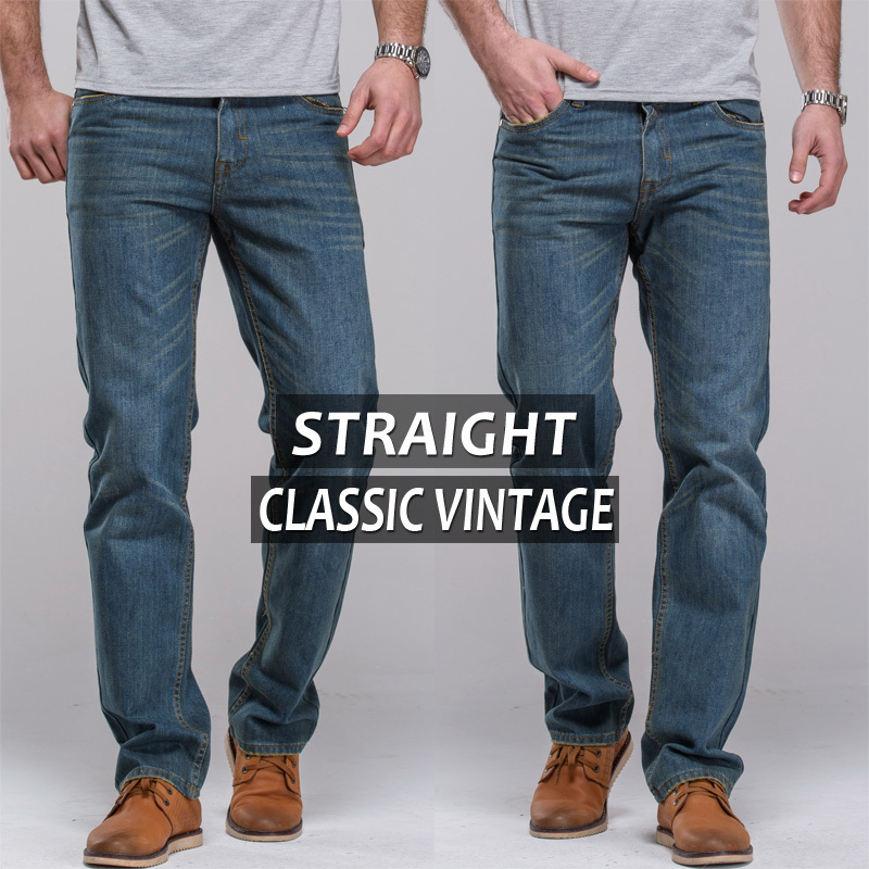 mens jeans vintage jeans regular thigh straight fit famous brand male blue jeans classic vintage pants long pants