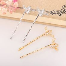 Minimalist Thin Metallic Wavy Hairpin Women Girl Cute Cartoon Ballet Dancer Figures Hair Clip Glitter Rhinestone Luxury Barrette