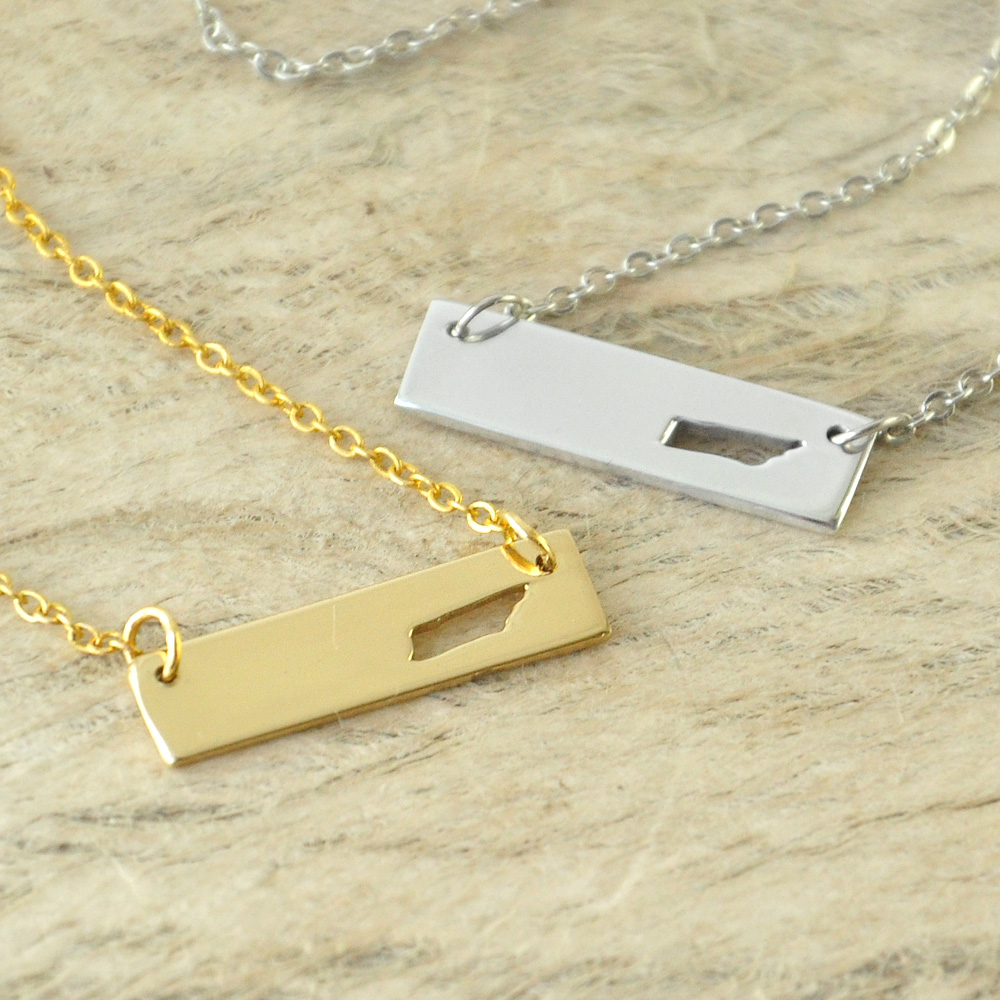 Tennessee Bar Necklace Cut Out Map Necklace Alloy State Necklace Map Charm Custom Map State Pride Bar Necklace