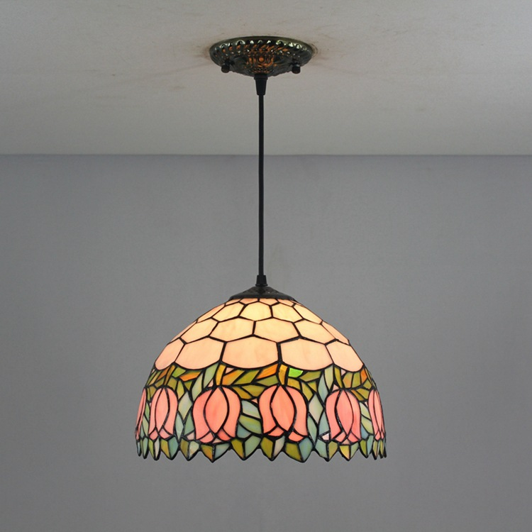 12 Inch Flesh pink Country Flowers Tiffany pendant light  Stained Glass Lamp for Bedroom E27 110 240V|Pendant Lights| |  - title=