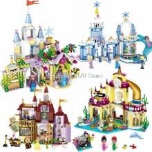 Legoing Princess Elsa Ice Castle Cinderella Mermaid Building Blocks Toys for Children Compatible Legoings Friends for Girls Xmas