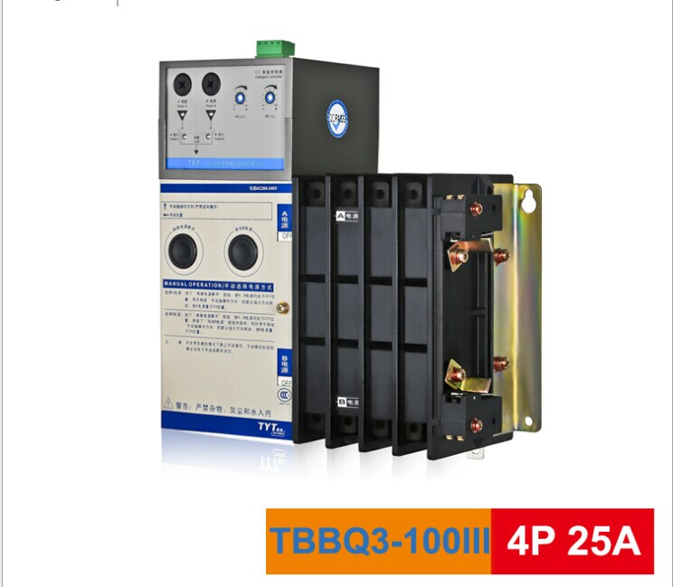 TYT Tae Yeong TBBQ3-100III dual power source automatic switch 25A 4P dual power transfer switch tyt tae yeong tbbq3 100iii dual power source automatic switch 16a 3p dual power transfer switch