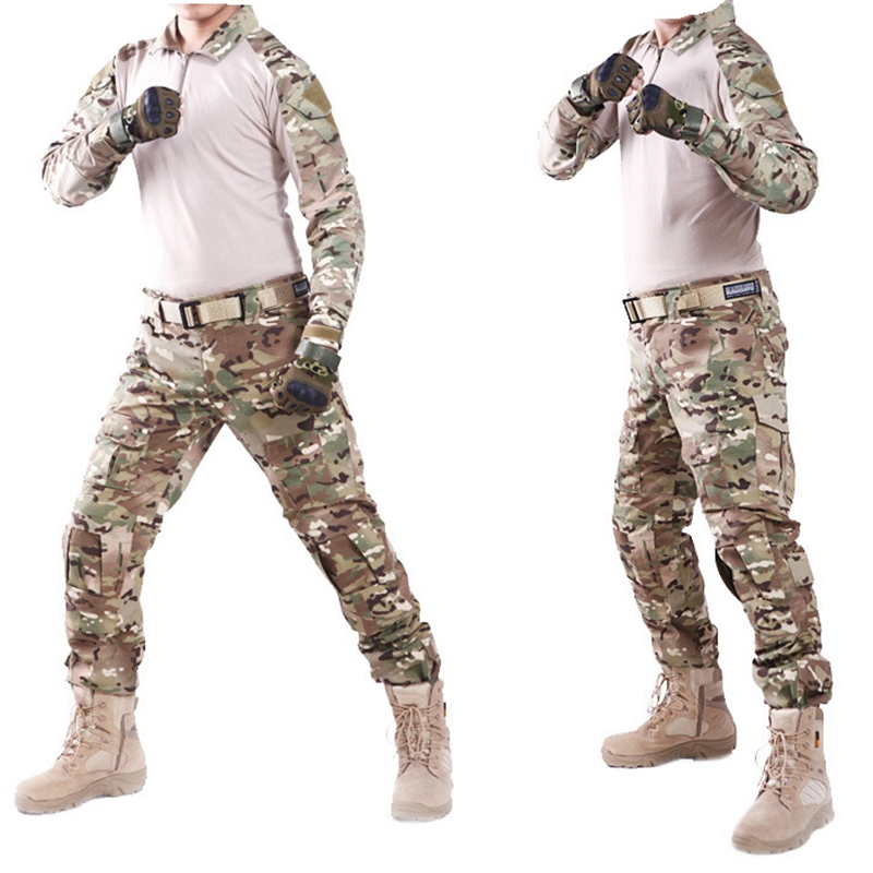 SWAT Tactical Camouflage Military Uniform Clothes Suit Men US Army Multicam Hunting Combat Shirt + Cargo Pants Knee Elbow Pads reebow tactical military uniform multicam army combat shirt uniform tactical pants camouflage suit hunting clothes