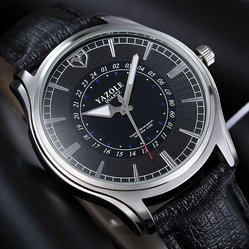 Relogio Masculino Herren Uhren YAZOLE Wasserdicht Mode Leder Uhr Mann Erkek Kol Saati Reloj Hombre Sport Uhr Uhren
