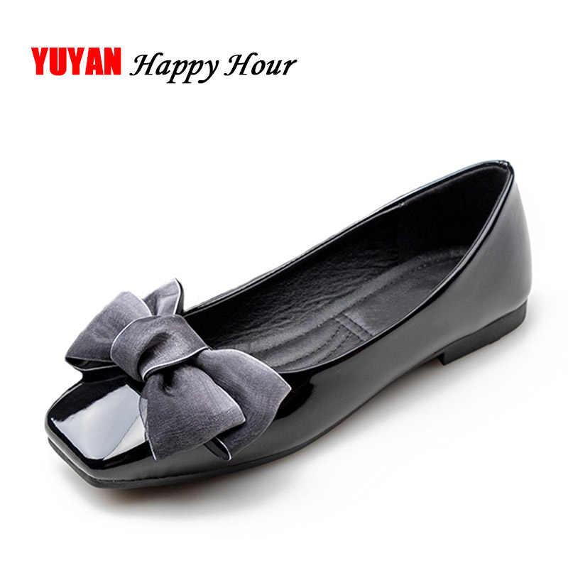 New 2019 Fashion Shoes Women Flat Heel Soft Single Shoes Butterfly Knot  Elegant Women s Flats Ladies 8faa1cdf7e94