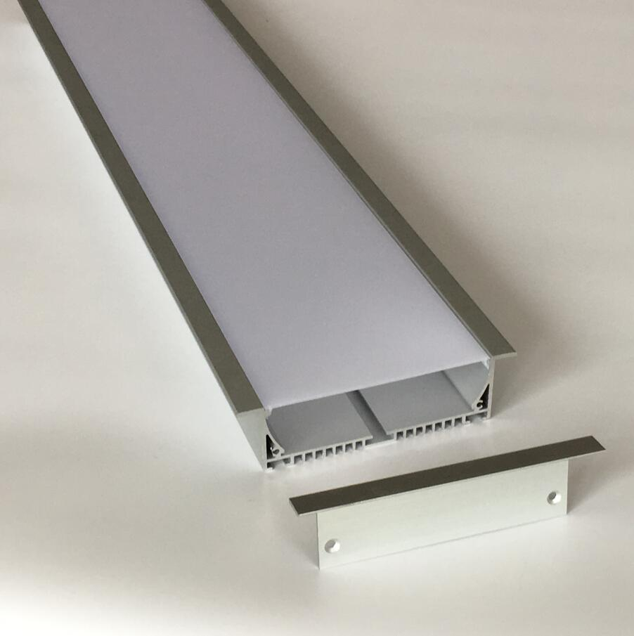 Free Shipping 120cm super wide flat aluminum led profile linear channel with end caps, pc cover/plastic diffuser 1.8m/pcs