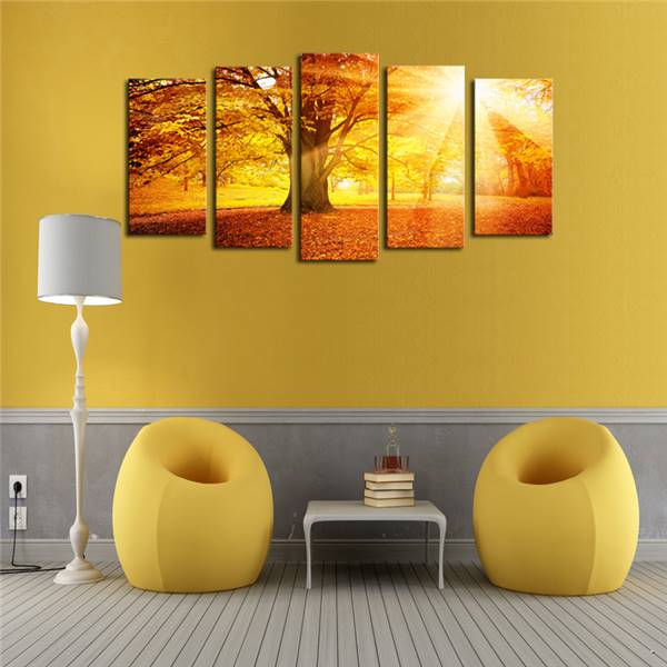 Luxry Unframed 5 Panels Sunset Trees View Picture Canvas