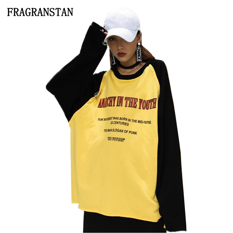 2018 Female Spring Summer O-Neck Yellow Sweatshirts Women Fashion Letter Printed Patchwork Loose Pullovers Street Style Top Q209