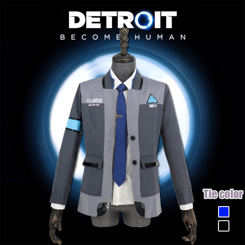 Gentle Game Detroit: Become Human Cosplay Costume Wig Connor Cosplay Uniform Men Jacket Tie Rk800 Coat 100% High Quality Materials