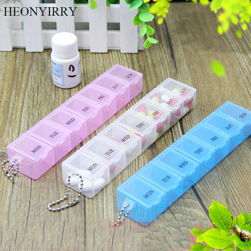 2 PCS Random Color 7 Days Weekly Tablet Pill Medicine Box Holder Storage Organizer Container Case Pill Box Splitters