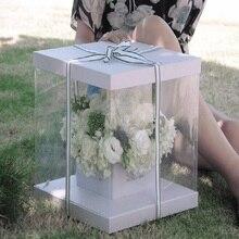 Caja cuadrada transparente de PVC para flores, embalaje de ramo, Cajas de Regalo para recuerdo de boda, fiesta de cumpleaños, Día de San Valentín