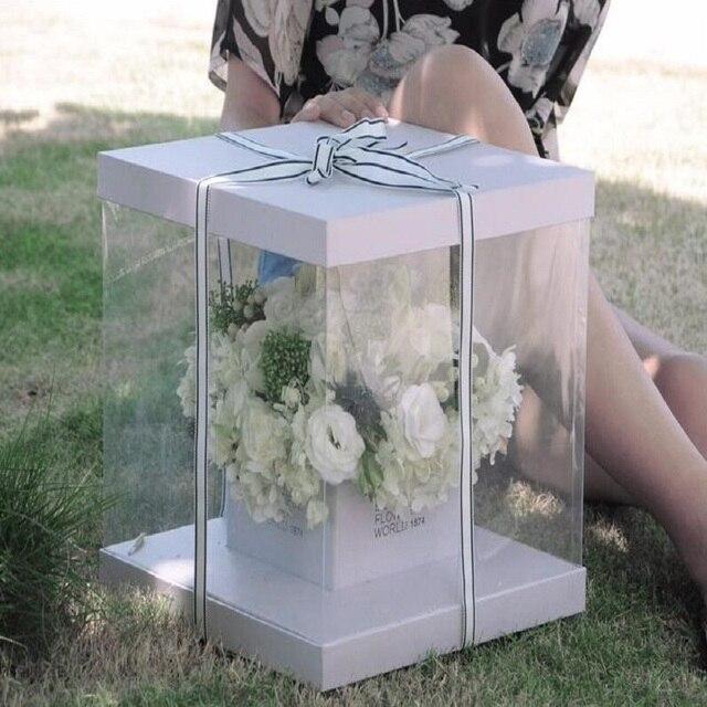 Carre Clair Pvc Transparent Main Fleur Boite D Emballage Bouquet